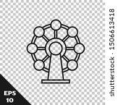 Black Line Ferris Wheel Icon...