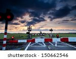 Closed Rail Crossing With Red...