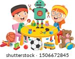 kids playing with various toys | Shutterstock .eps vector #1506672845