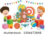 kids playing with various toys | Shutterstock .eps vector #1506672848
