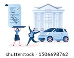 happy couple with approved car... | Shutterstock .eps vector #1506698762
