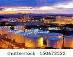 fuel tanks along sunset moment | Shutterstock . vector #150673532