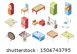 recreation room isometric set... | Shutterstock .eps vector #1506743795