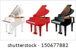 Grand Piano Black  White And Red