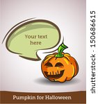 cartoon pumpkin with speech... | Shutterstock .eps vector #150686615