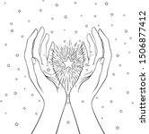 female hands open around magic... | Shutterstock .eps vector #1506877412