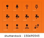 geo tag pin icons on orange...