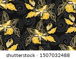 seamless pattern with floral... | Shutterstock .eps vector #1507032488