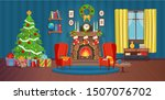 christmas interior with... | Shutterstock .eps vector #1507076702