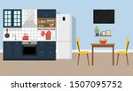 kitchen interior with dining... | Shutterstock .eps vector #1507095752