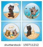 Vector Cairn-terrier dog summer sea vacation collection