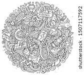 cartoon cute doodles hand drawn ... | Shutterstock . vector #1507117592