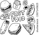 fast foods with sketchy ink in... | Shutterstock .eps vector #1507145825