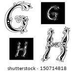 floral capital letters g and h...   Shutterstock .eps vector #150714818