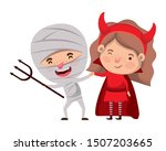cute little kids with mummy and ... | Shutterstock .eps vector #1507203665
