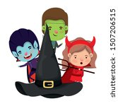 cute little kids with hat witch ... | Shutterstock .eps vector #1507206515