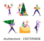 set of cute happy tiny people... | Shutterstock .eps vector #1507390838