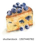 slice of blueberrie cake... | Shutterstock . vector #1507440782