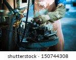 lathe machine in a car spare...   Shutterstock . vector #150744308