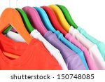 different shirts on colorful... | Shutterstock . vector #150748085