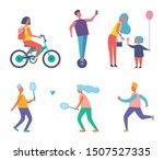 biker woman with rucksack on...   Shutterstock . vector #1507527335