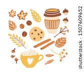set of cute vector clip art... | Shutterstock .eps vector #1507609652