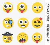 cute cartoon face emotion mood... | Shutterstock .eps vector #1507619192