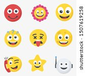 cute cartoon face emotion mood... | Shutterstock .eps vector #1507619258