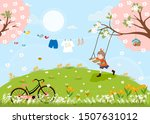 cute cartoon spring landscape... | Shutterstock .eps vector #1507631012