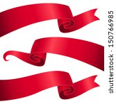 Set Of Red Ribbons For Design...