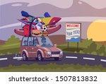summertime road trip flat... | Shutterstock .eps vector #1507813832