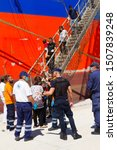 Small photo of Heraklion, Grete, Greece, September 5 2017: Immigrants rescued in the Mediterranean Sea east of Crete island, arrive at Heraklion harbor, on board a Malaysian chemicals-oil tanker. Editorial image