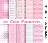 Stock vector  cute different vector seamless patterns tiling pink color endless texture can be used for 150784232