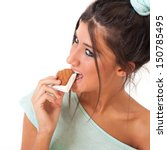 young girl eating ice cream... | Shutterstock . vector #150785495