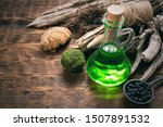 Green Magic Potion Bottle On A...