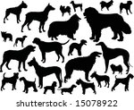 Stock vector illustration with dog silhouettes isolated on white background 15078922