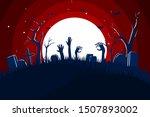 flat design spooky halloween...   Shutterstock .eps vector #1507893002