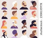 set of avatars in flat design... | Shutterstock .eps vector #1508135978