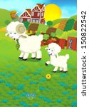 cartoon illustration with sheep ... | Shutterstock . vector #150822542