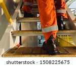 Worker Walk With Safety Shoes...
