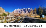 Panorama shot of Tupopdan mountain also known as Passu Cones or Passu Cathedral with blue sky in autumn was taken on Karakoram Highway to China border, Northern of Pakistan