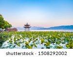 Early morning scenery of West Lake Hangzhou Zhejiang China