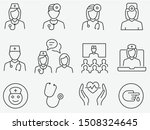doctor and nurse line icons set.... | Shutterstock .eps vector #1508324645