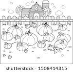 Farm Landscape With A Pumpkin...