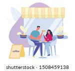 Stock vector young couple man and woman drink coffee and have a bite to eat in cafeteria or restaurant lounge 1508459138