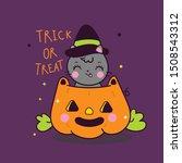kawaii halloween cat vector... | Shutterstock .eps vector #1508543312