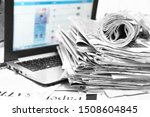 newspapers and laptop.... | Shutterstock . vector #1508604845