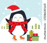 penguin and christmas gift... | Shutterstock .eps vector #1508630165