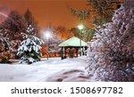 Winter Snow City Park Gazebo I...