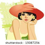 cute young girl in red hat | Shutterstock .eps vector #15087256